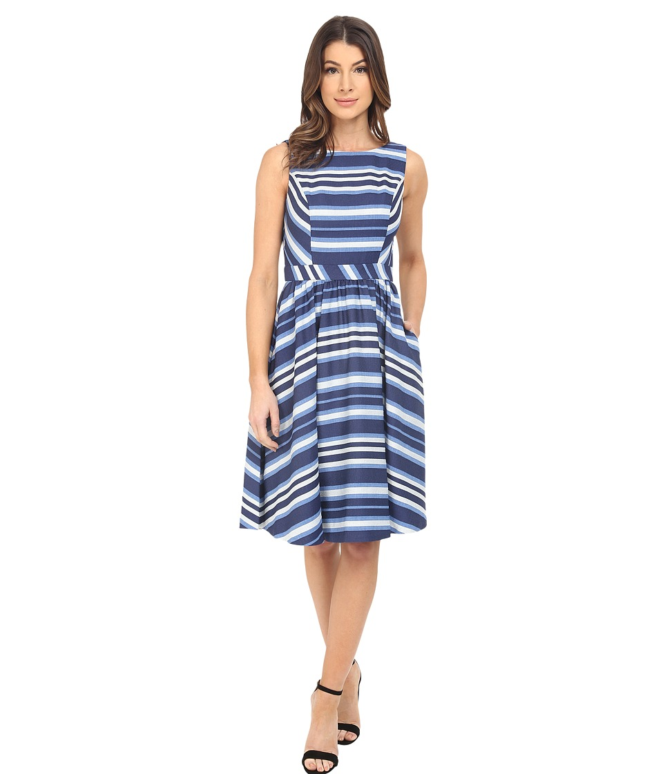 Donna Morgan Sleeveless Novlety Woven Fit and Flare White-Indigo Dress