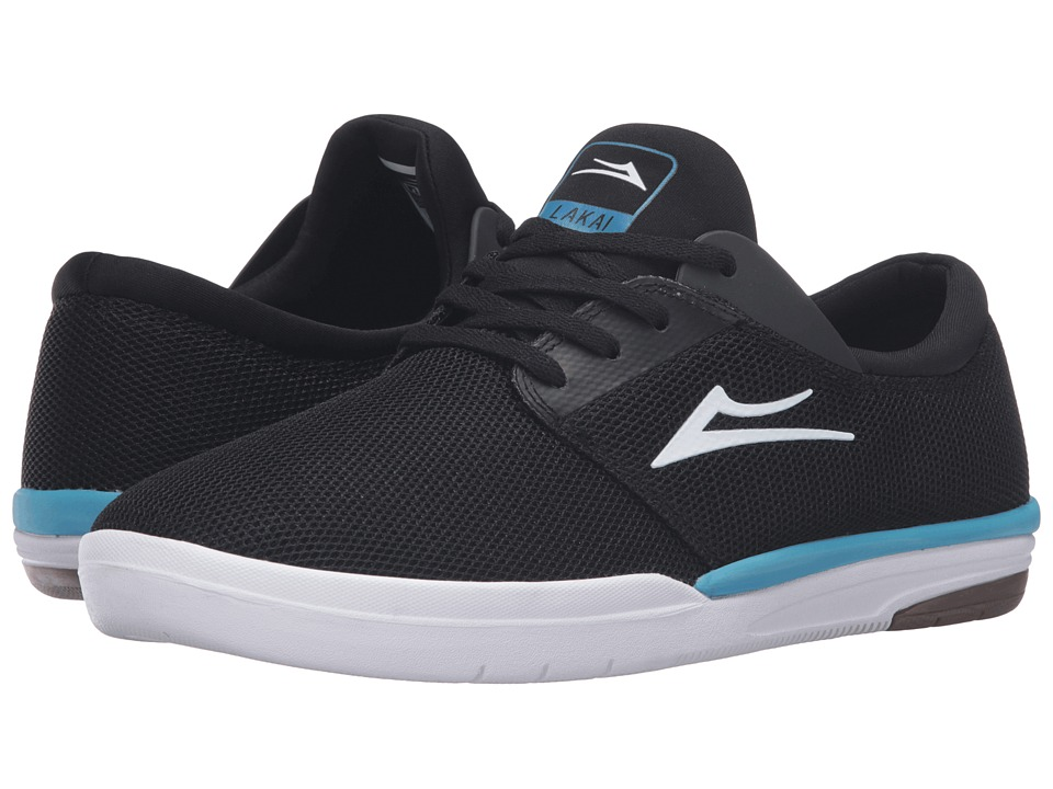 Lakai - Fremont (Black/Cyan Mesh) Men's Skate Shoes