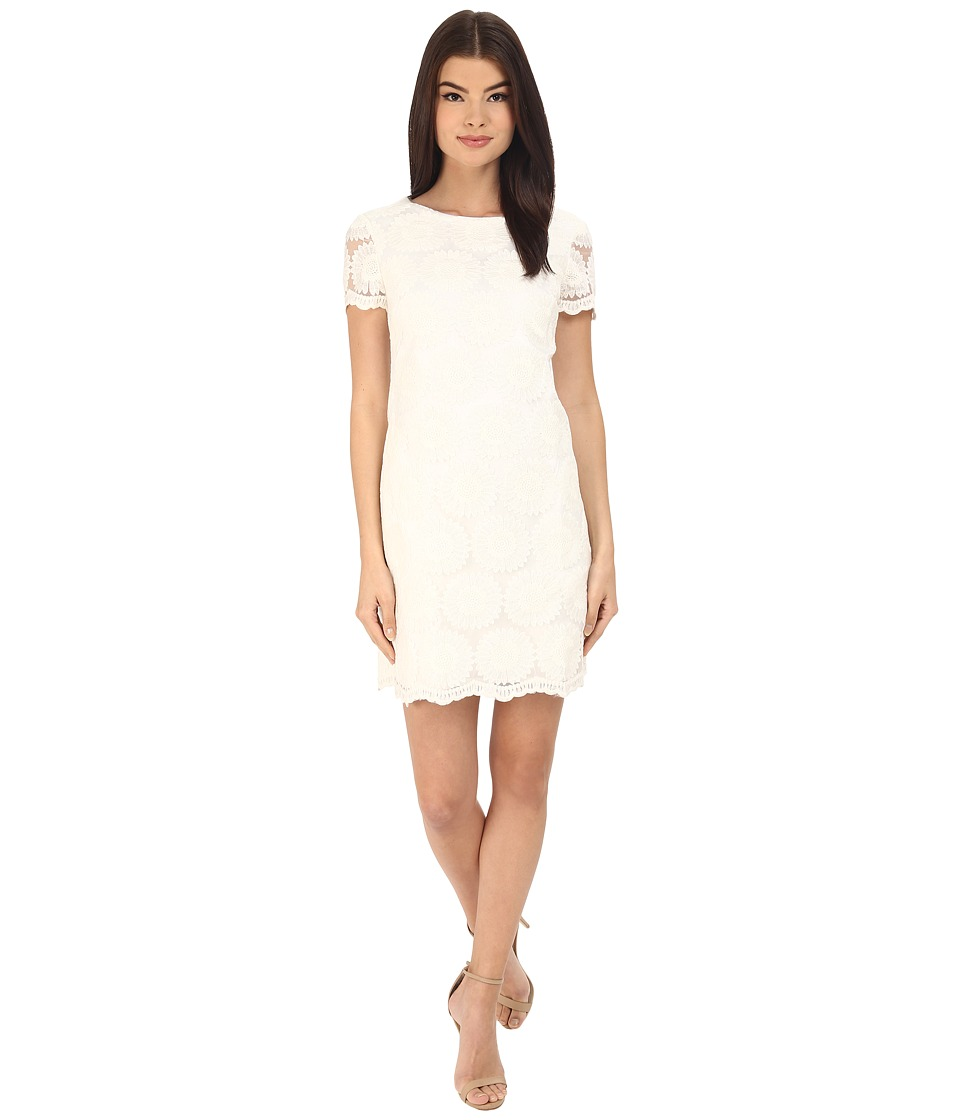 Donna Morgan - Short Sleeve Shift Lace Dress (White) Women's Dress