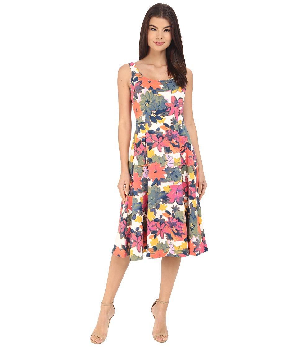 Donna Morgan - Sleeveless Pique Printed Midi Dress (Flux/Sun) Women's Dress