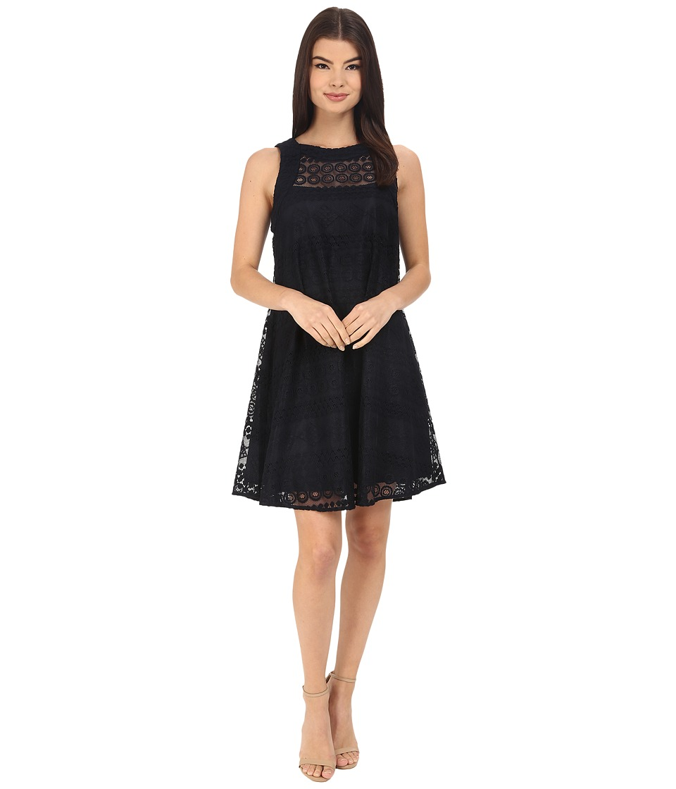 Donna Morgan - Sleeveless Novelty Woven Trapeze Dress (Midnight) Women's Dress
