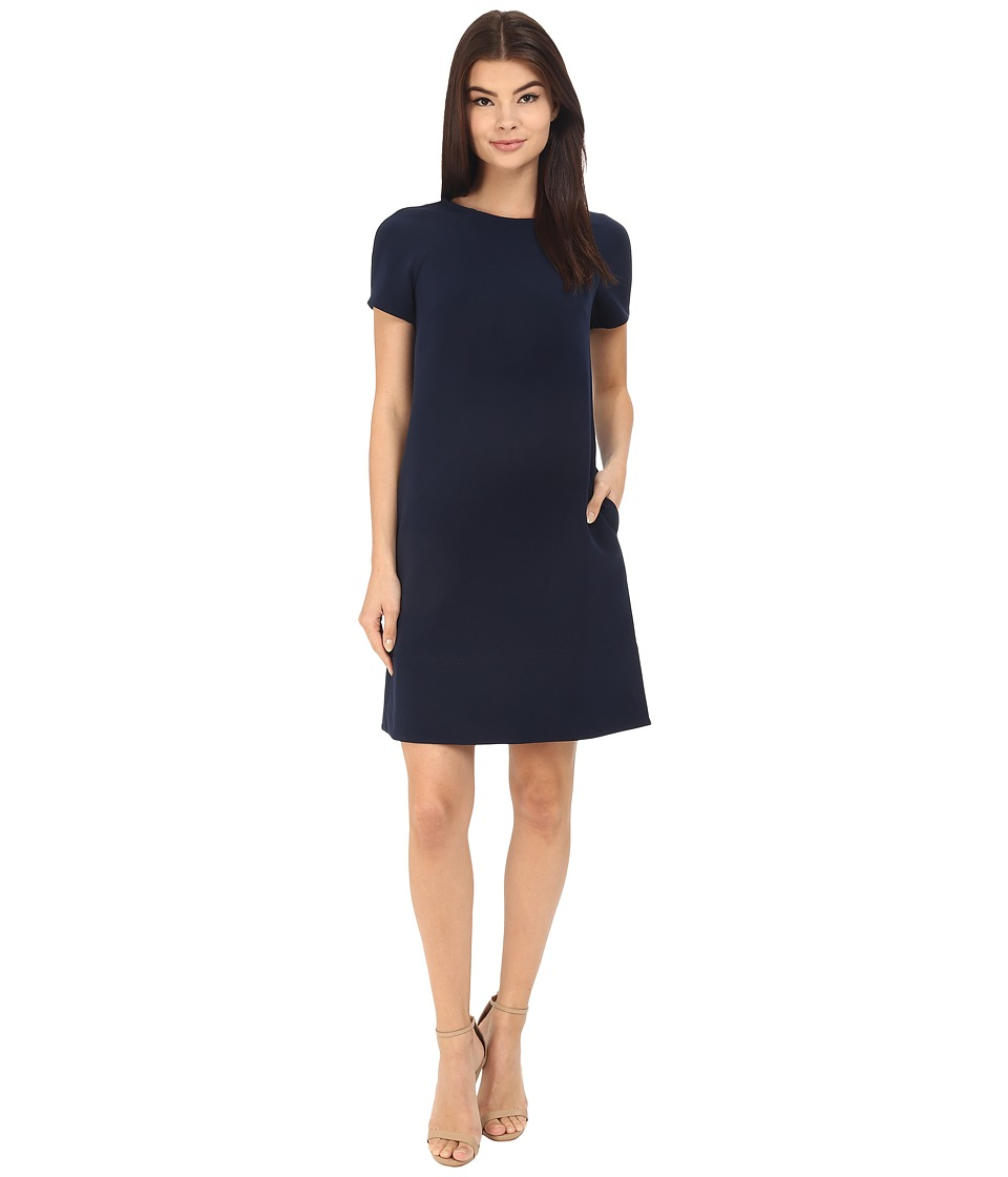 Donna Morgan - Short Sleeve Crepe Shift (Midnight) Women's Dress
