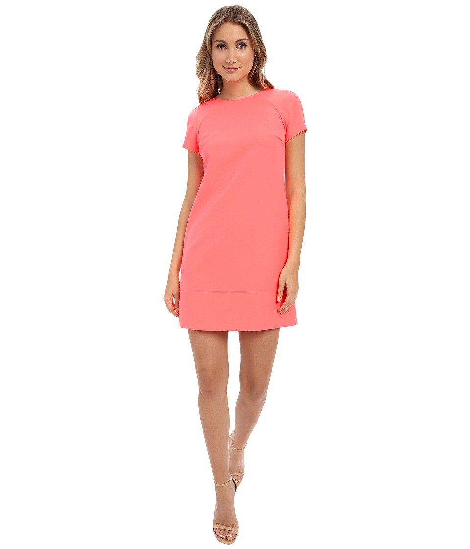 Donna Morgan - Short Sleeve Crepe Shift (Neon Pink) Women's Dress