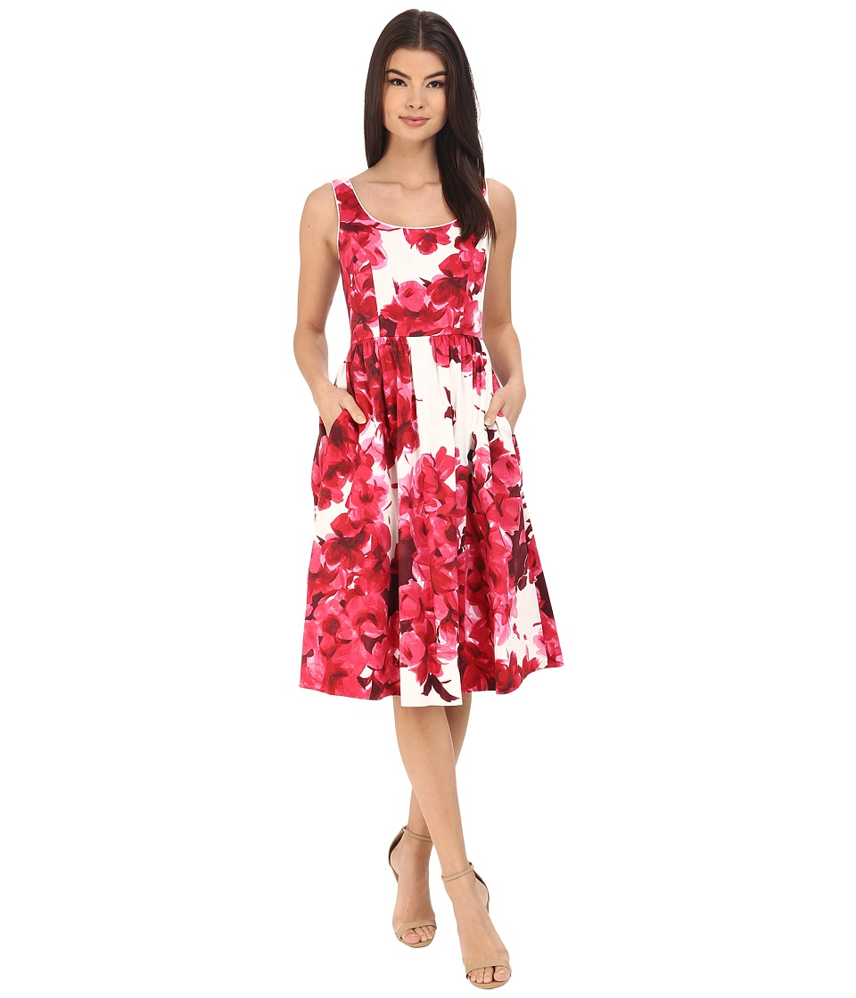 Donna Morgan - Sleeveless Cotton Sateen Scoop Neck Tea Length with Full Skirt (Red) Women's Dress