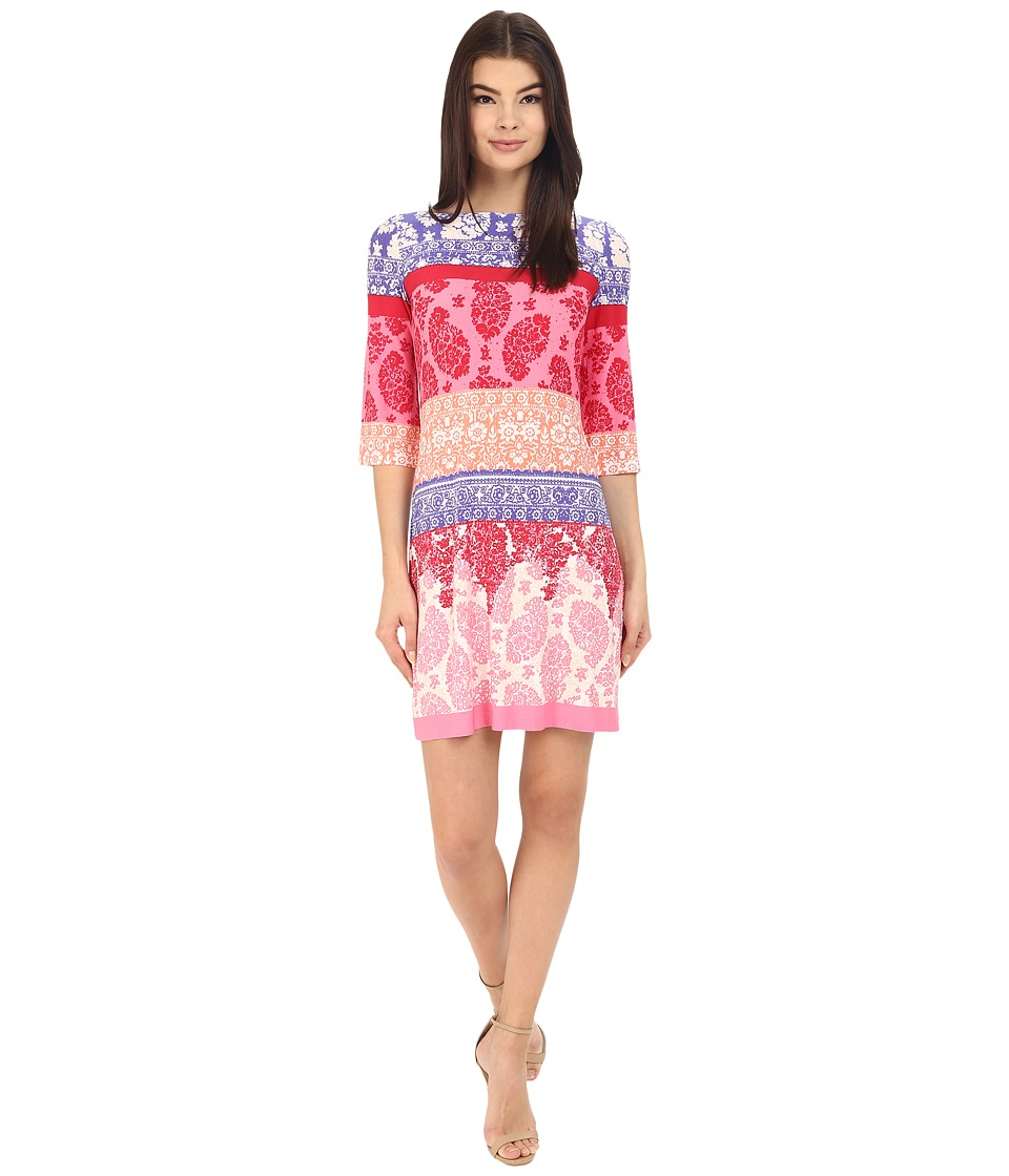 Donna Morgan - 3/4 Sleeve Lace Print Jersey Shift (Violet Multi) Women's Dress