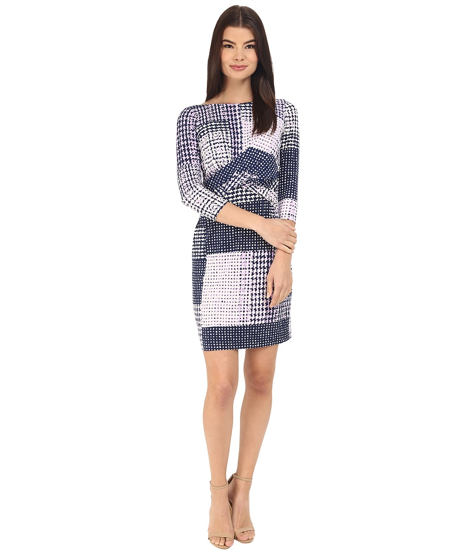 Donna Morgan - 3/4 Sleeve Knot Front Jersey Shift (Lightning Multi) Women's Dress