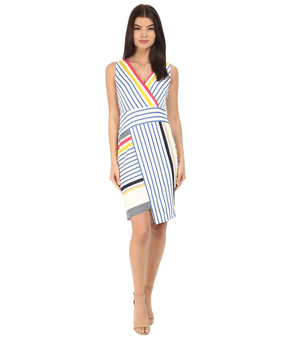 Donna Morgan - Sleeveless Scuba Bodycon with V-Neck (Tent Midnight Multi) Women's Dress