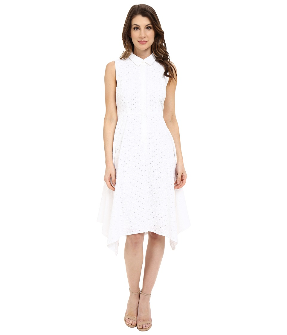 Donna Morgan - Sleeveless Collared Eyelet Shirtdress with Asymmetrical Hem (White) Women's Dress