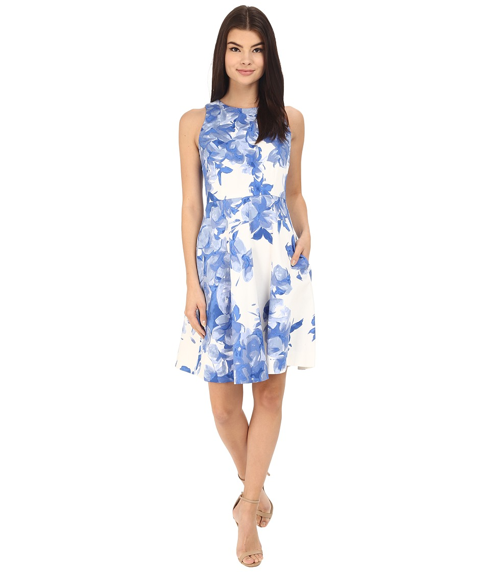 Donna Morgan - Sleeveless Cotton Printed Fit and Flare (Cabin) Women's Dress