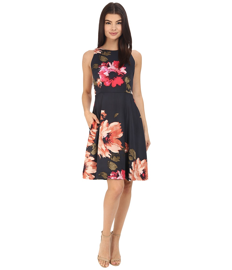 Donna Morgan Sleeveless Printed Twill Fit and Flare Midnight Multi Dress