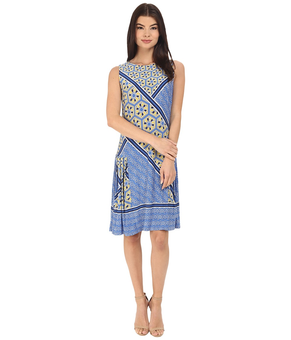 Donna Morgan - Sleeveless Printed Jersey with Pleated Skirt (Cabin/Ink) Women's Dress