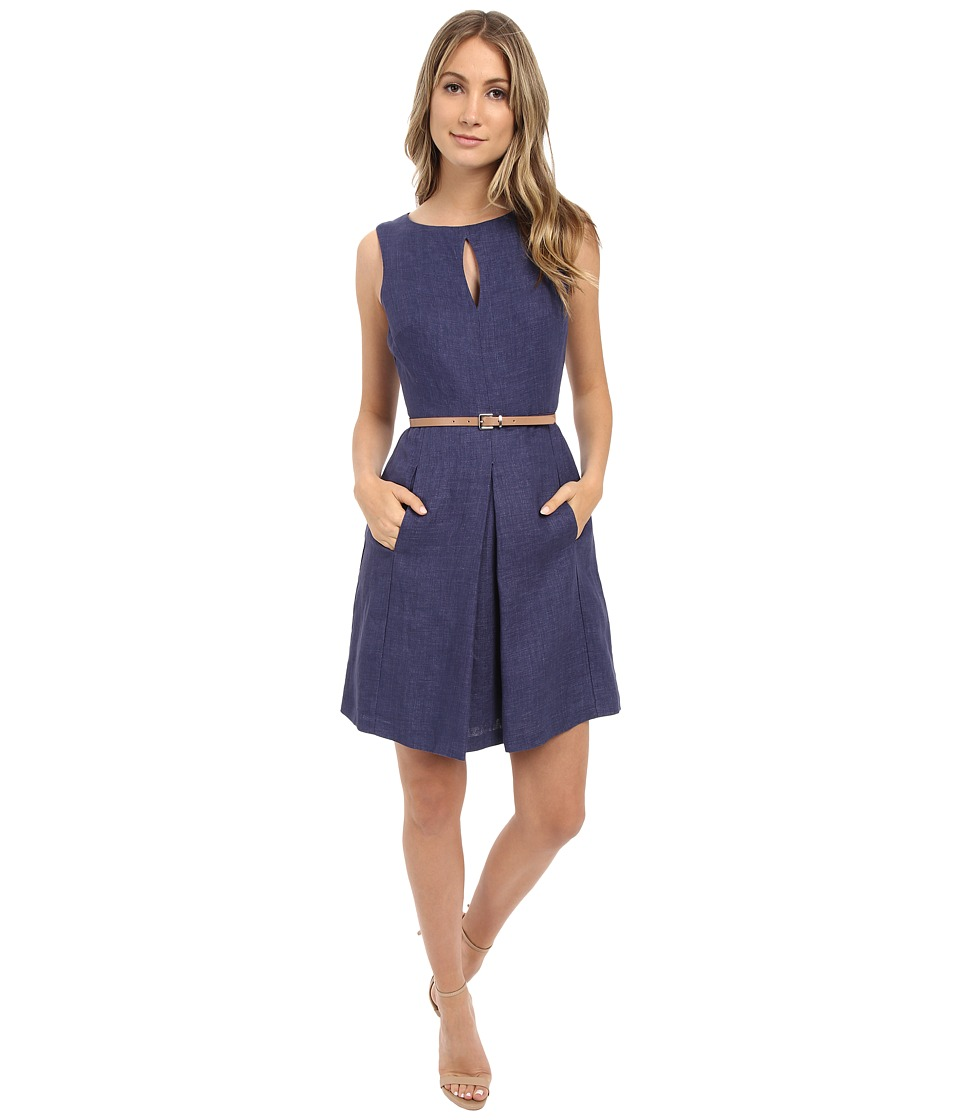 Donna Morgan Sleeveless Denim Fit and Flare with Belt Indigo Dress