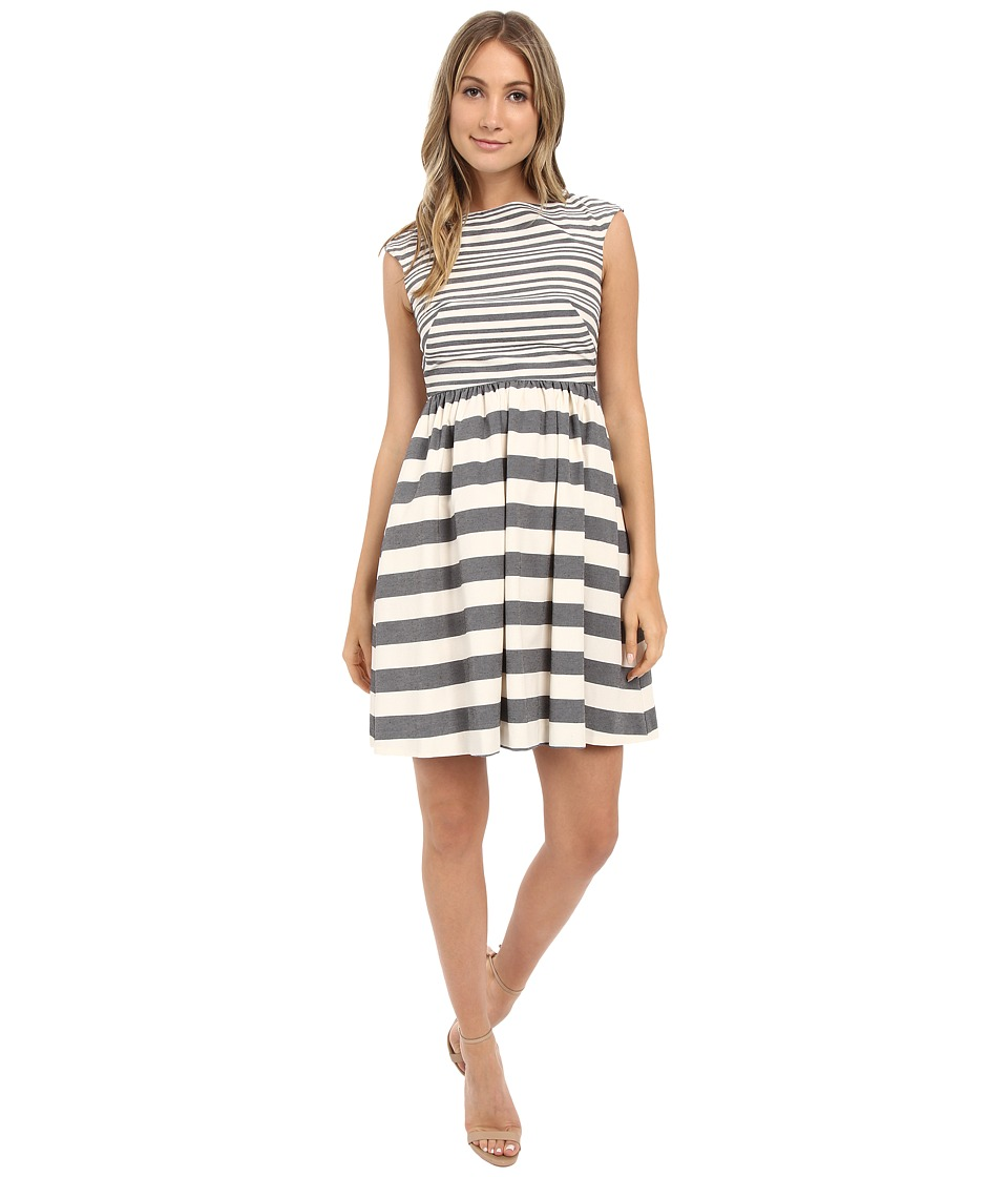 Donna Morgan - Yarn Dye Linen Fit and Flare with Stripes (Ivory/Black) Women's Dress