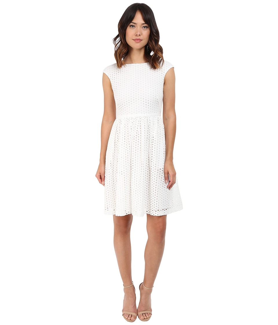 Donna Morgan - Eyelet Fit and Flare with Tie Back (White) Women's Dress