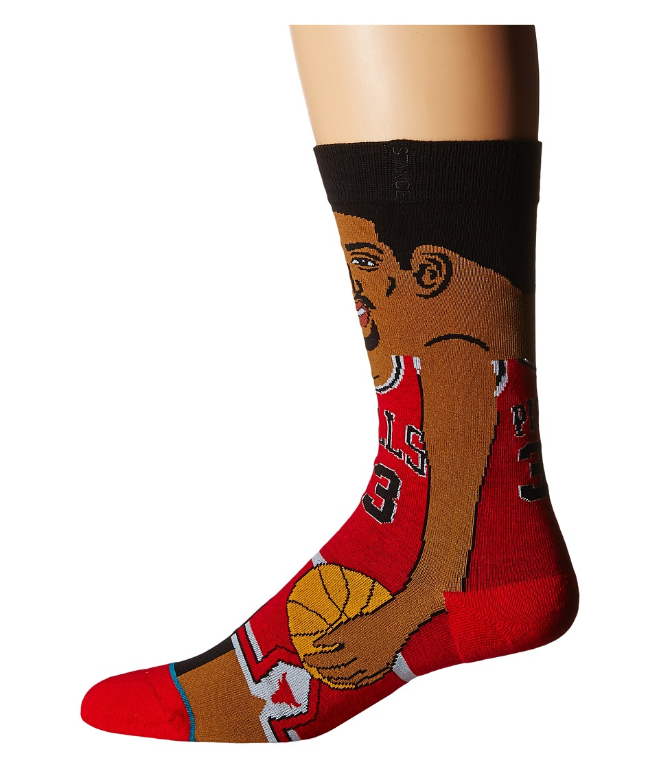 Stance - S. Pippen (Red) Men's Crew Cut Socks Shoes