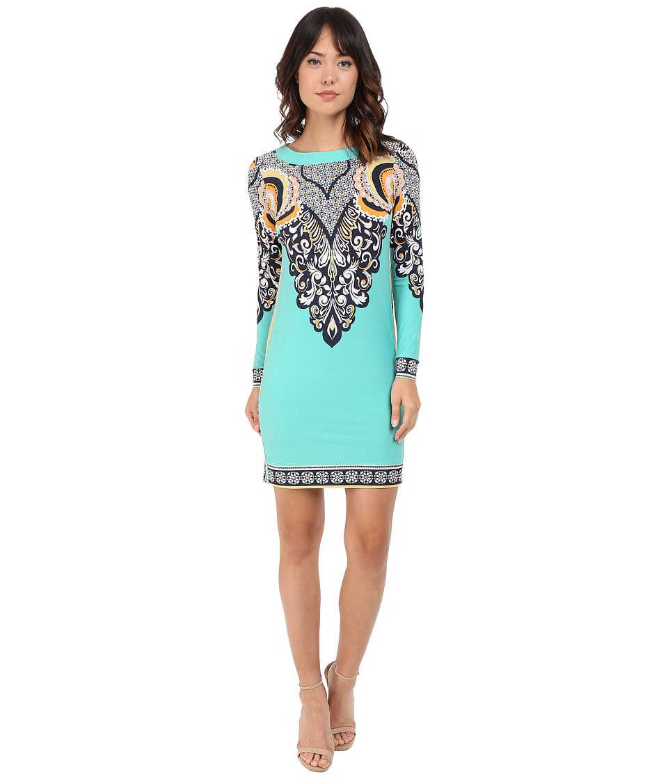 Donna Morgan - Long Sleeve Printed Jersey Dress (Jade Multi) Women's Dress