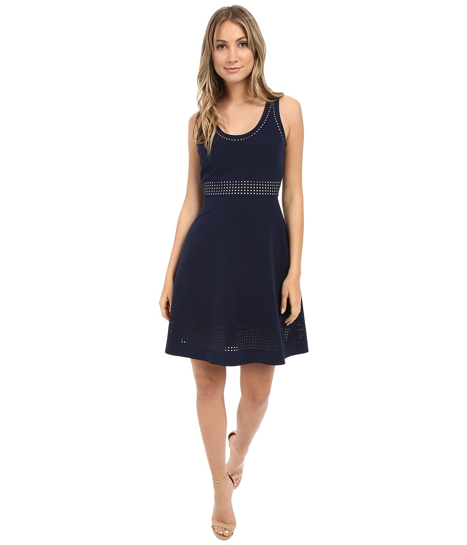 Donna Morgan - Sleeveless Laser Cut Crepe Fit and Flare (Midnight) Women's Dress