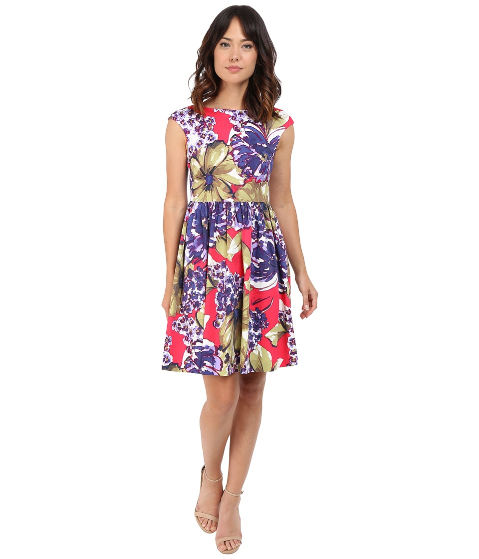 Donna Morgan Sleeveless Printed Cotton Sateen Tie Back Fit and Flare Flamboyant Multi Dress
