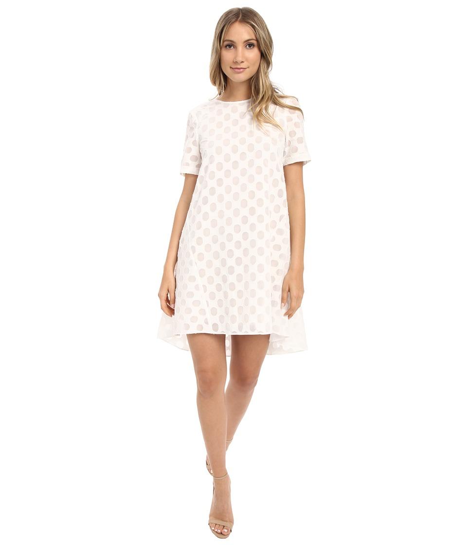 Donna Morgan - Short Sleeve Burnout Organza Trapeze (White) Women's Dress