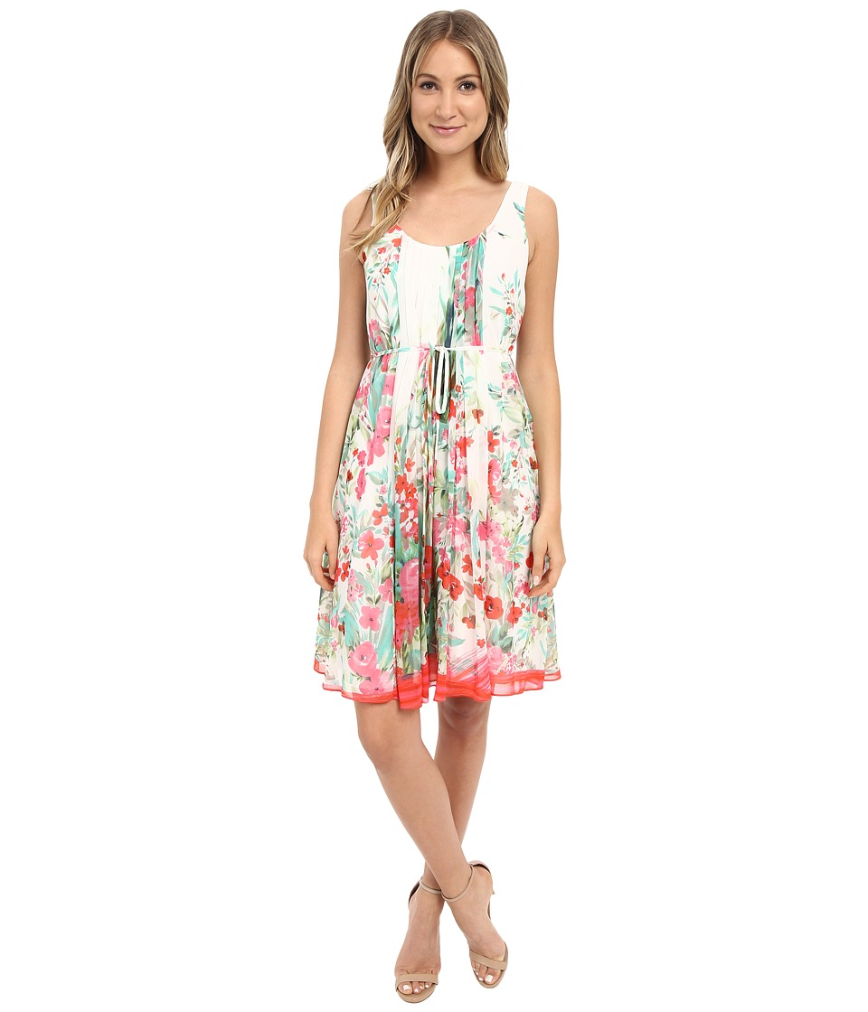 Donna Morgan - Sleeveless Pleated Printed Chiffon with Self Belt (Geranium Multi) Women's Dress
