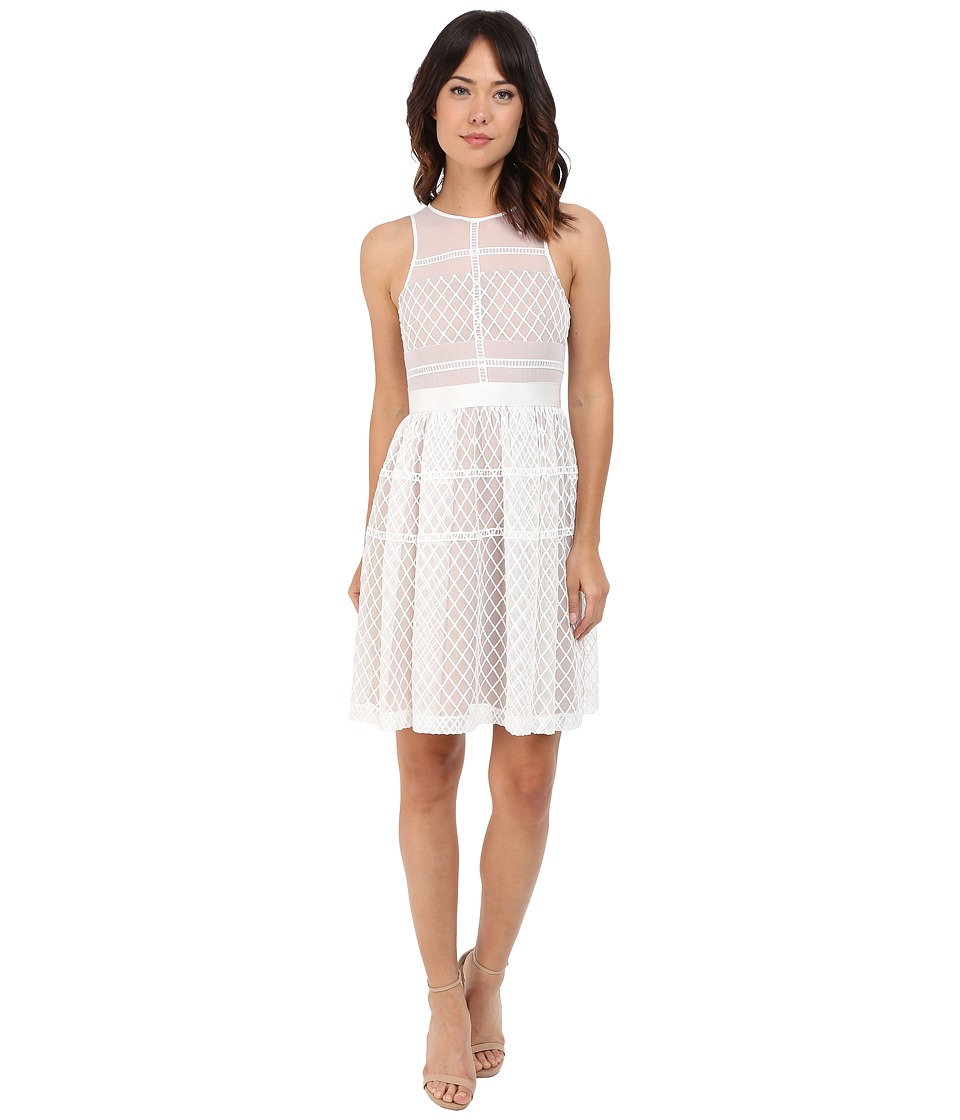 Donna Morgan - Sleeveless Novelty Organza Fit and Flare (White) Women's Dress