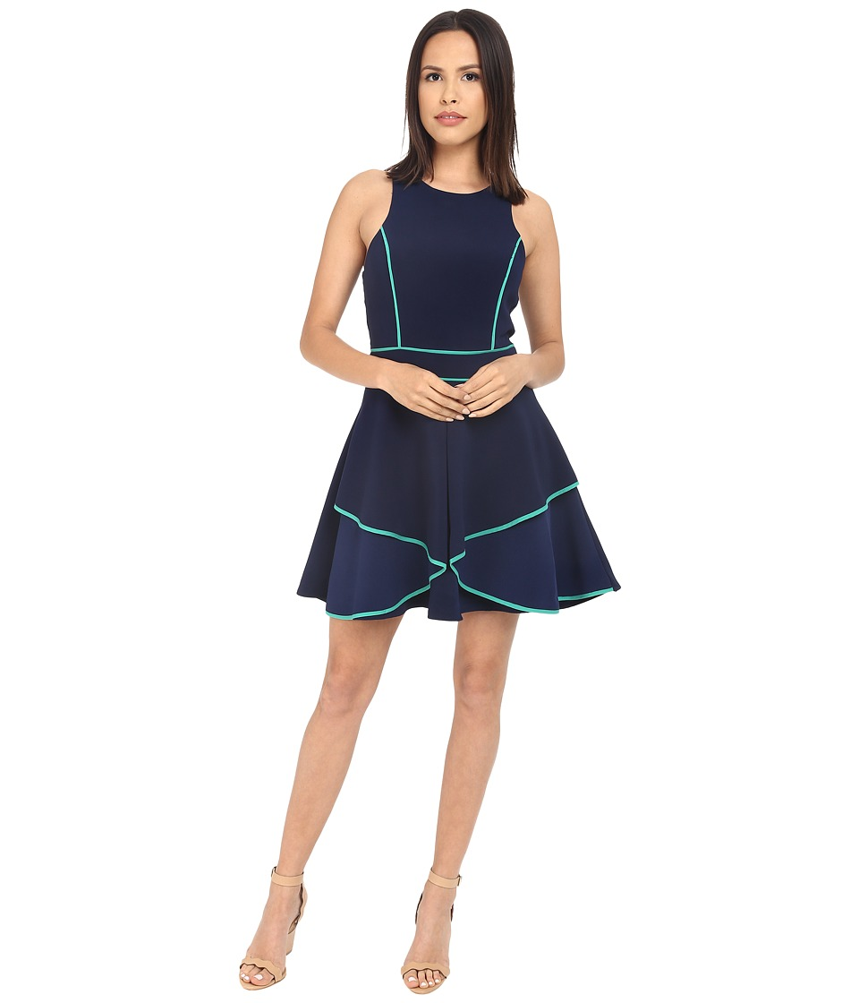 Adelyn Rae Fit and Flare Dress with Contrast Piping (Navy) Women