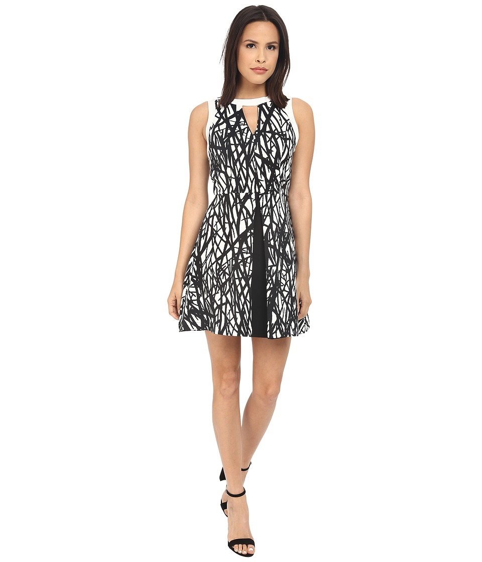 Adelyn Rae - Printed with Solid Color Block Fit and Flare Dress (Black/Ivory) Women's Dress