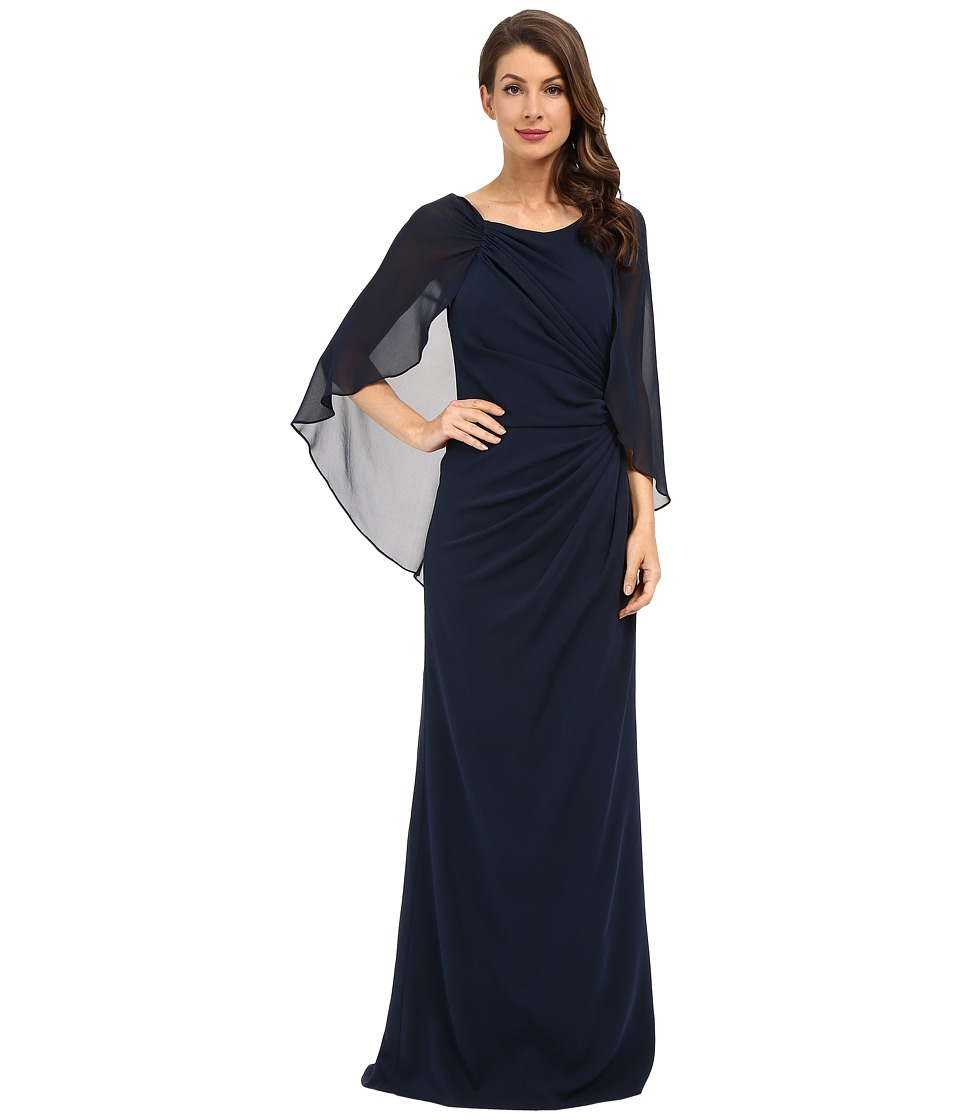 Badgley Mischka - Cape Gown (Navy) Women's Dress