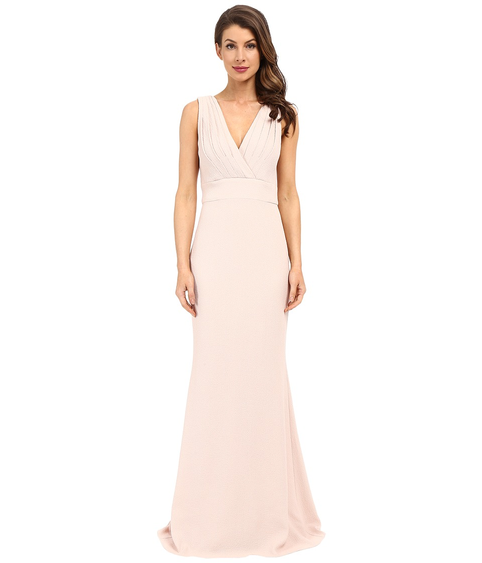 Badgley Mischka - Foil Crepe V-Neck Dress (Coral) Women's Dress