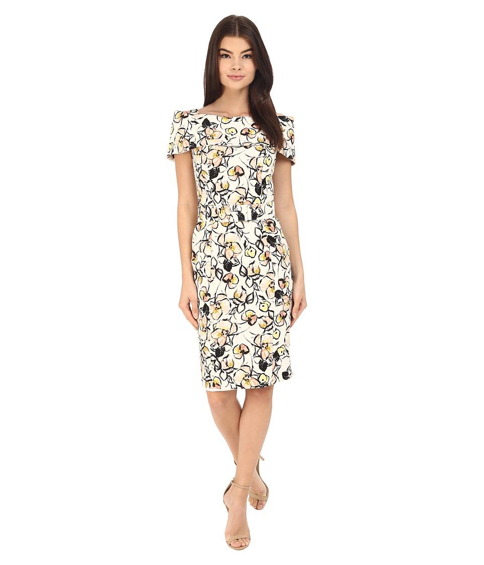 Badgley Mischka - Wrap Shoulder Sheath Print Dress (Ivory Multi) Women's Dress