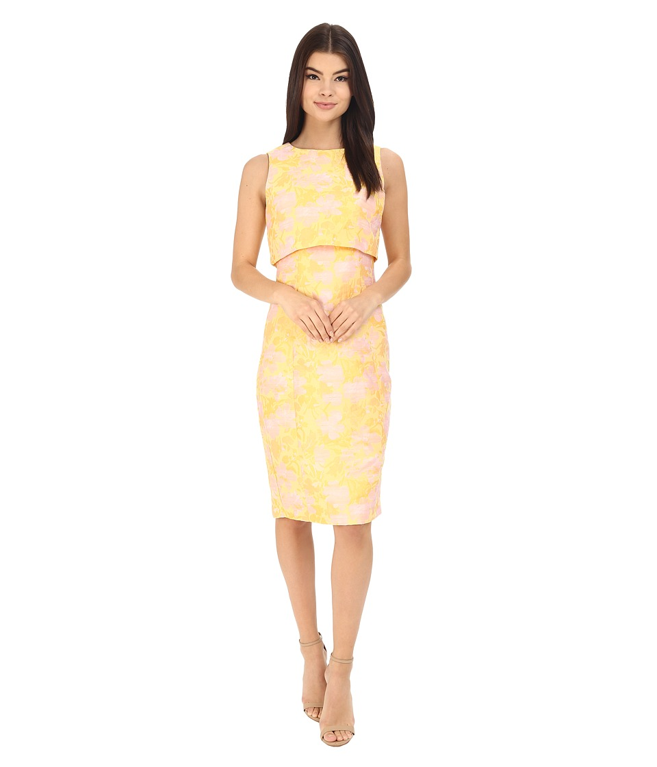 Badgley Mischka - Floral Jacquard Pop Over Dress (Sunflower Multi) Women's Dress