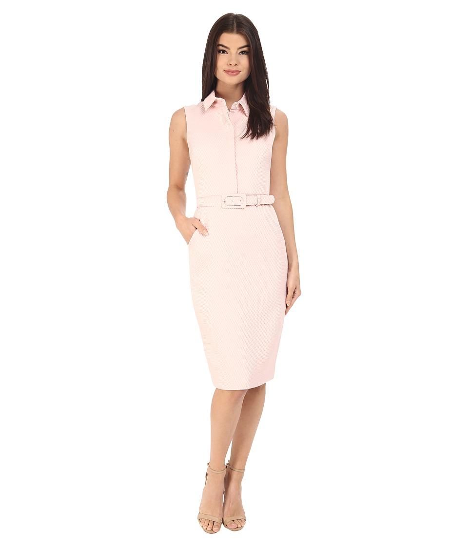 Badgley Mischka - Sheath Shirt Dress with Belt (Light Blush) Women's Dress