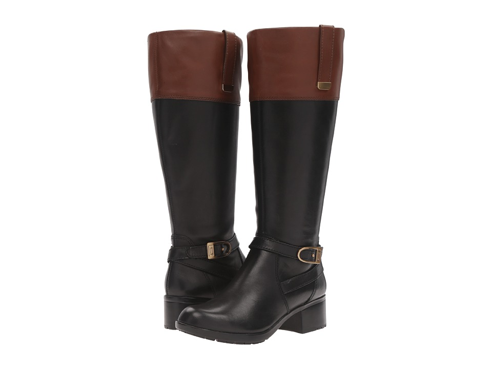 Bandolino - Baya Wide Calf (Black/Cognac Leather) Women's Boots