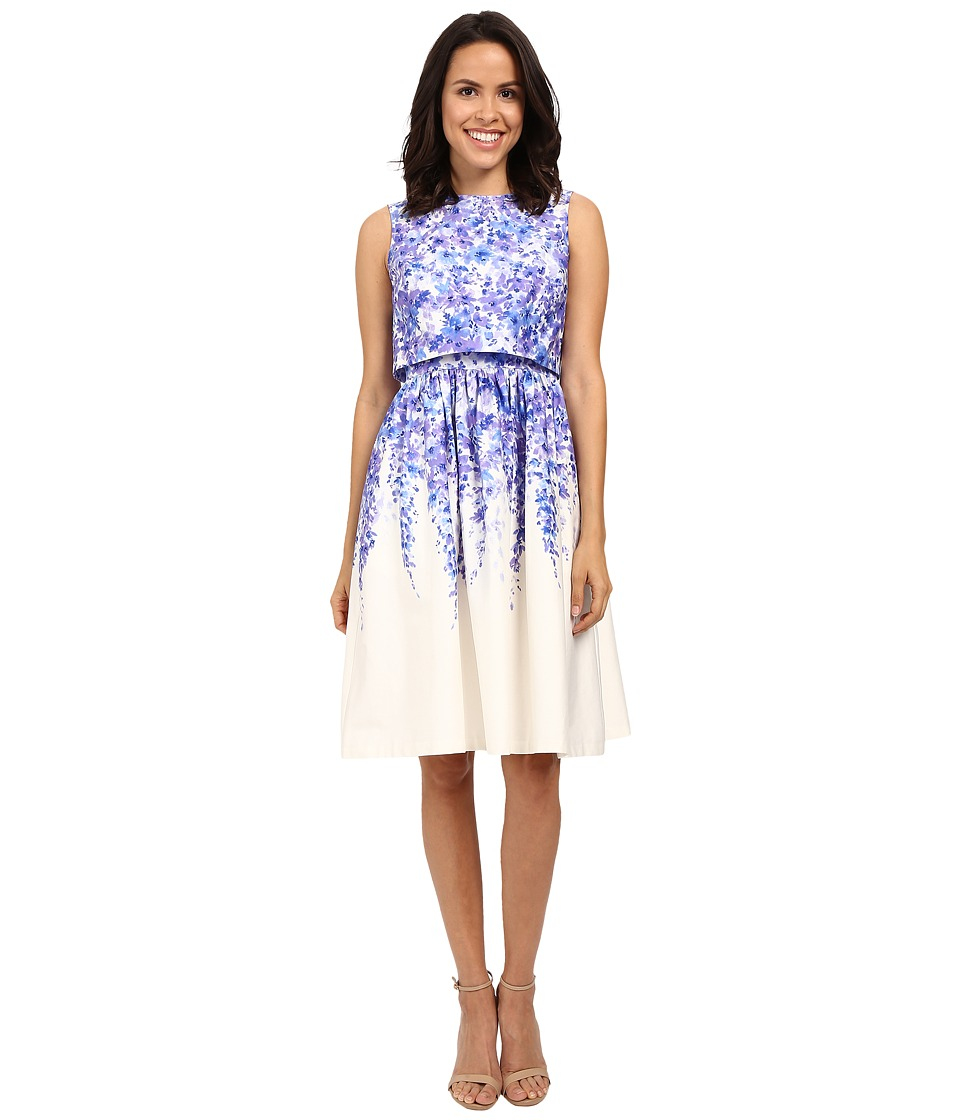 Donna Morgan - Cotton Sateen Popover with Midi Skirt (Blue Cannister Multi) Women's Dress