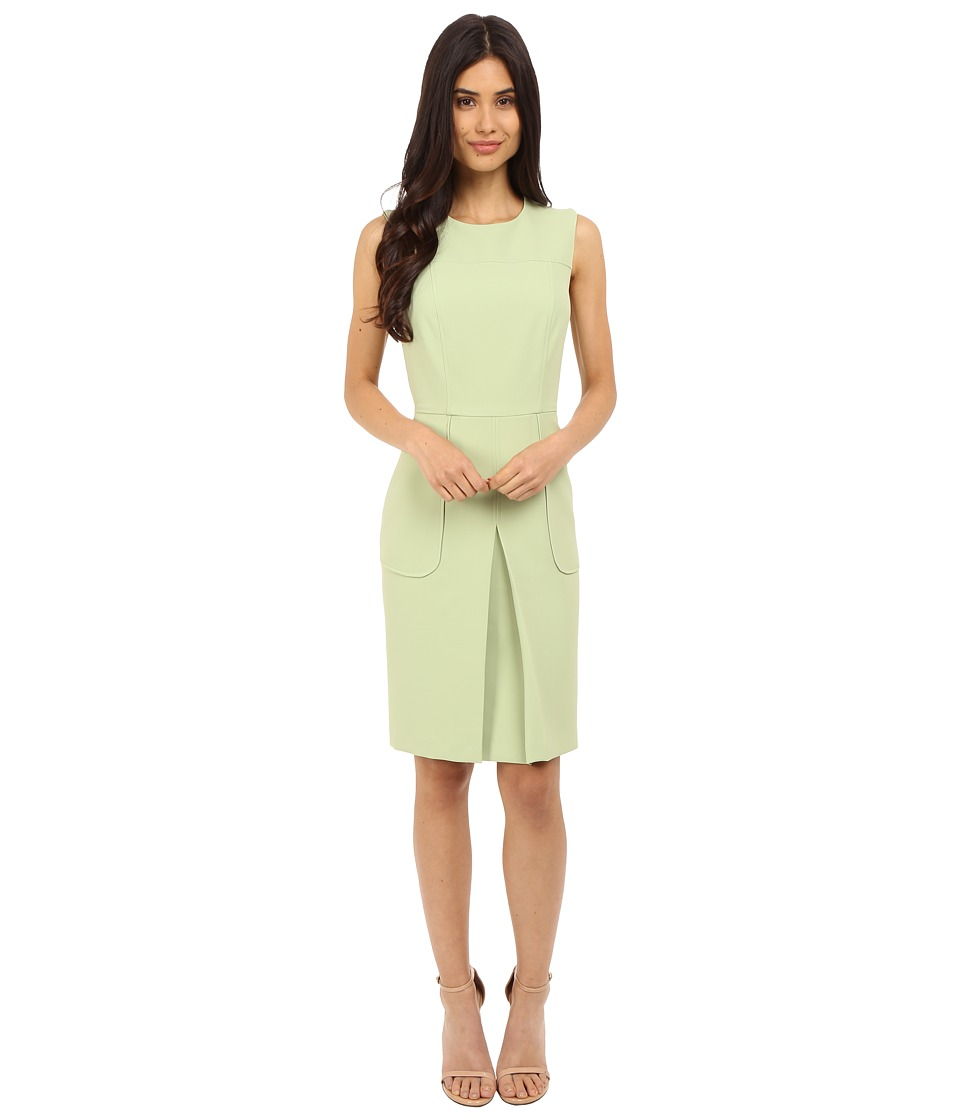 Donna Morgan Sleeveless Crepe Pleat Front Fit and Flare Clay Dress