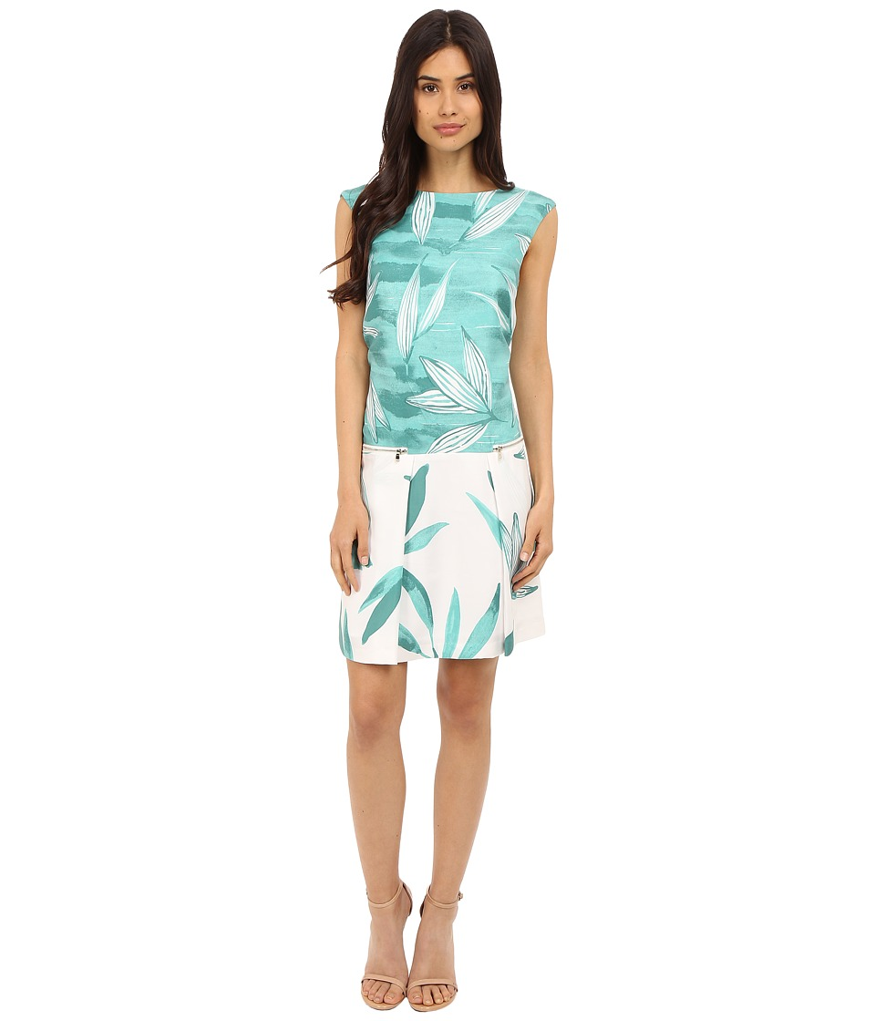 Donna Morgan - Sleeveless Printed Drop Waist Dress with Pocket Front (Jade Multi) Women's Dress