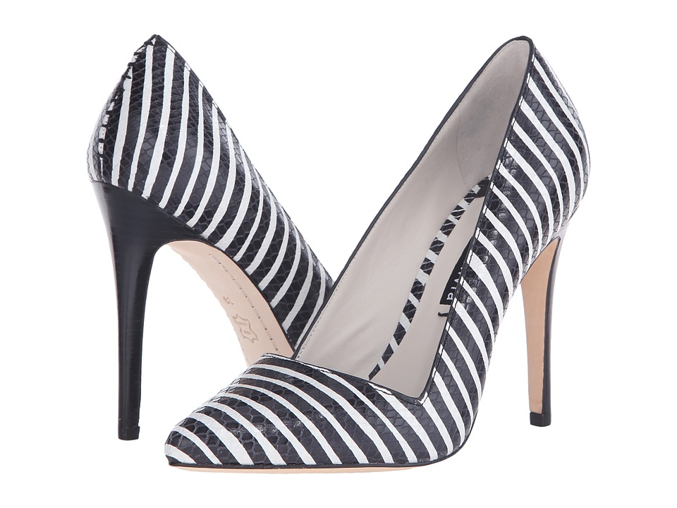 Alice + Olivia - Dina Too (Black/White Streak Snake Emboss) Women's Shoes