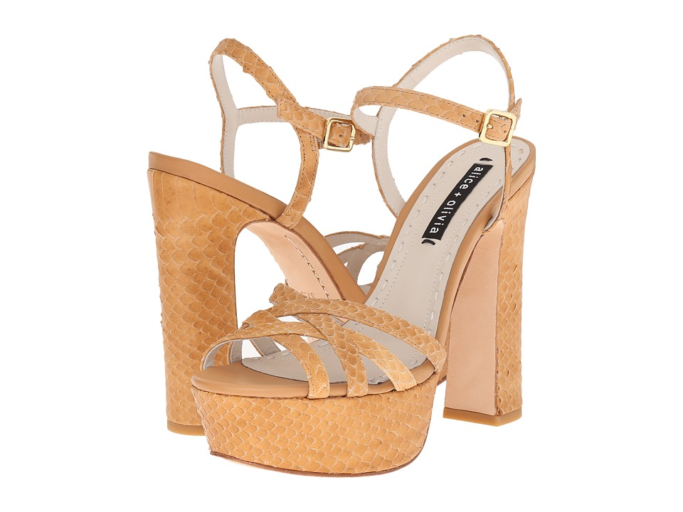 Alice + Olivia Leila Toffee Emboss Cut Python Shoes