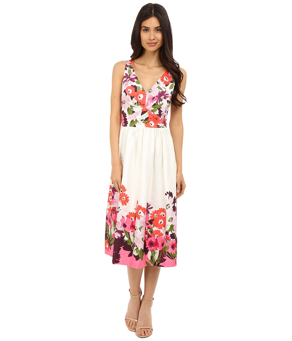 Donna Morgan - Sleeveless Cotton Sateen V-Neck Midi Length Dress (Tobaggan Multi) Women's Dress