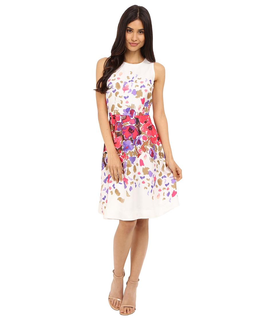 Donna Morgan - Sleeveless Twill Fit and Flare with Floral Print and Full Skirt (Rasberry Multi) Women's Dress