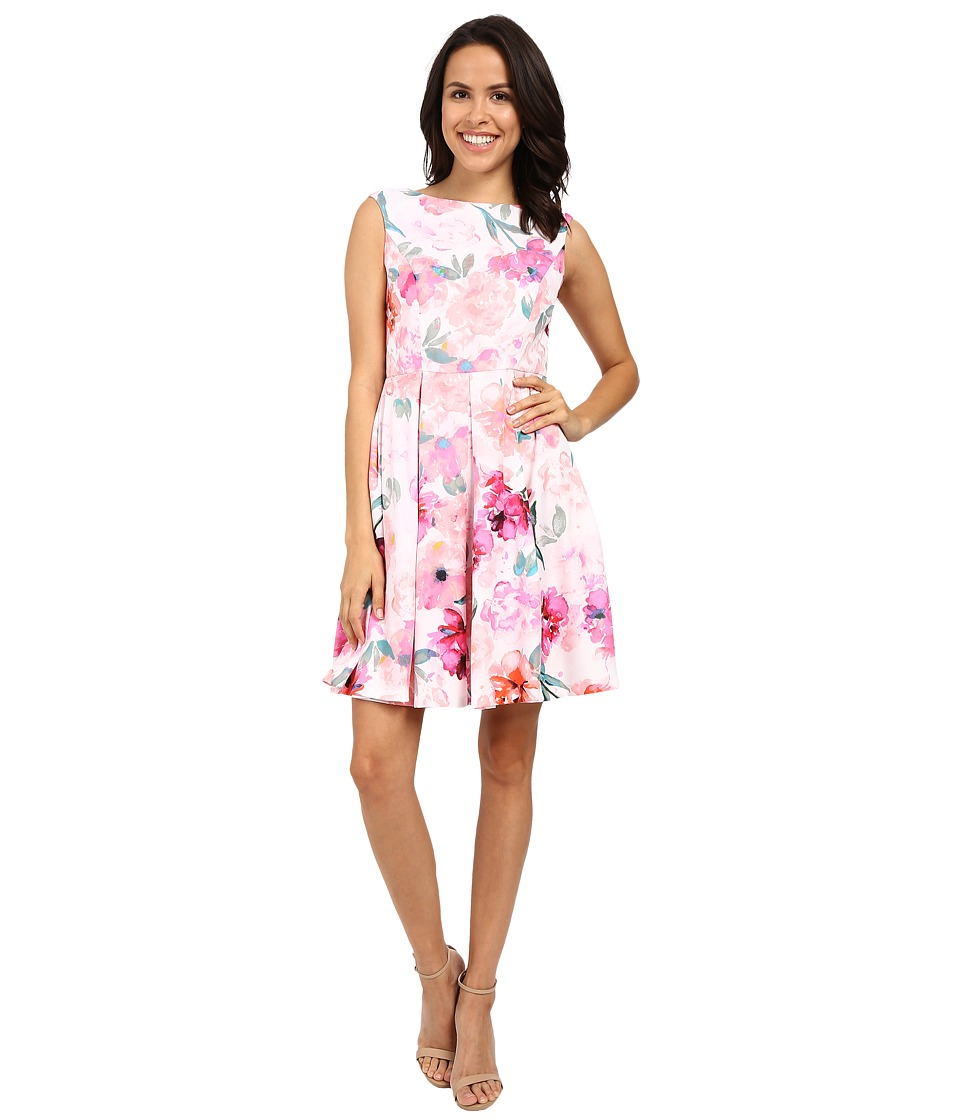 Donna Morgan - Sleeveless Twill Printed Fit and Flare Dress (Pink Multi) Women's Dress
