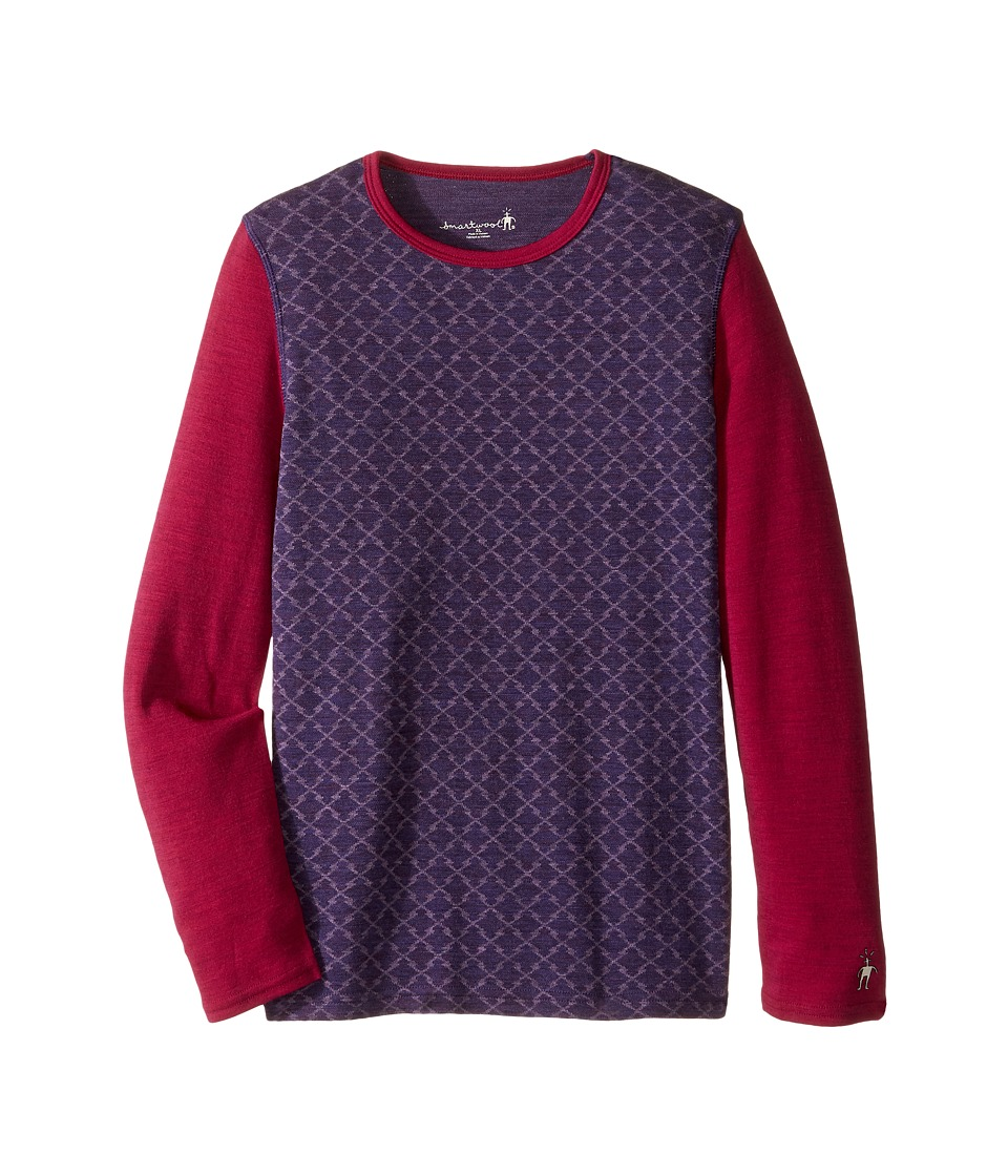 Smartwool - Mid 250 Pattern Crew (Little Kids/Big Kids) (Mountain Purple Heather) Clothing