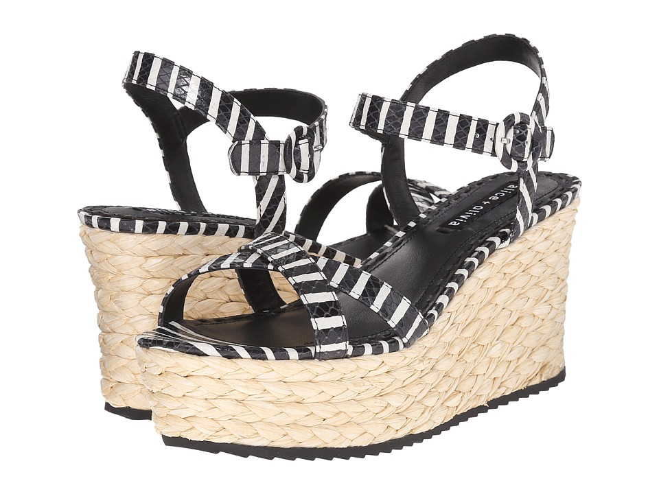Alice + Olivia - Rachel (Black/White Streak Snake Emboss) Women's Shoes
