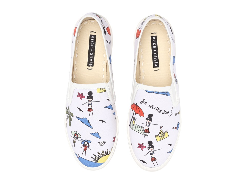 Alice + Olivia - Ava (White Fun In The Sun Multi Print Canvas) Women's Shoes