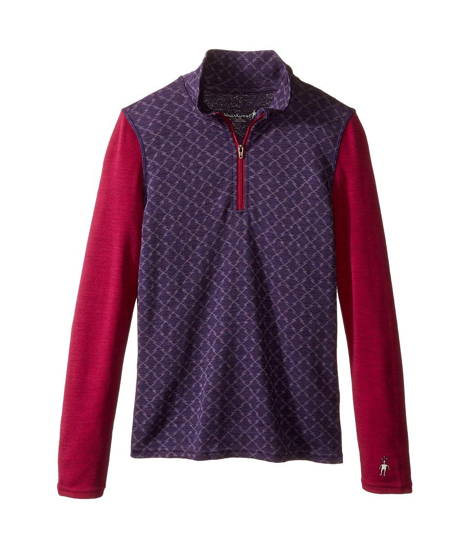 Smartwool - Mid 250 Pattern Zip Tee (Little Kids/Big Kids) (Mountain Purple Heather) Long Sleeve Pullover