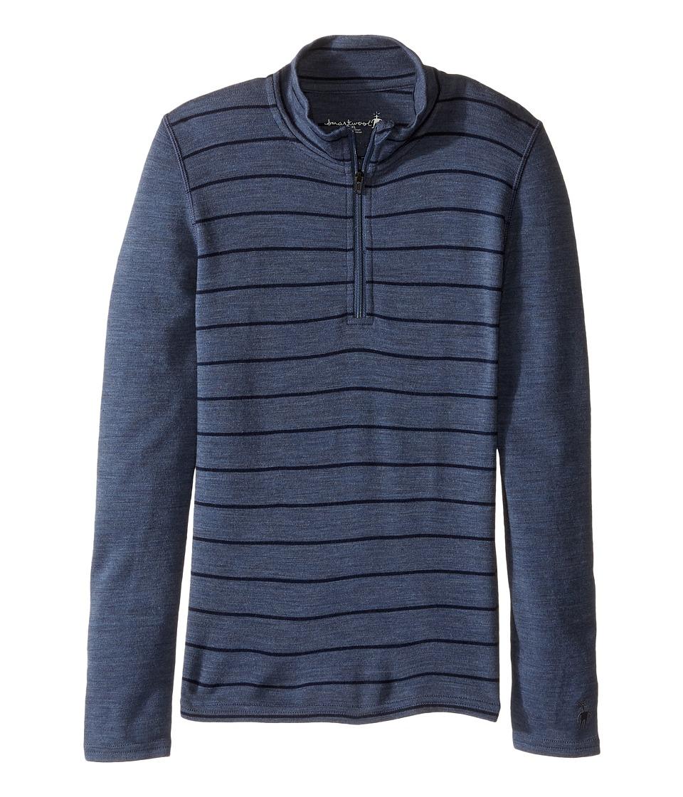 Smartwool - Mid 250 Pattern Zip Tee (Little Kids/Big Kids) (Dark Blue Steel) Long Sleeve Pullover