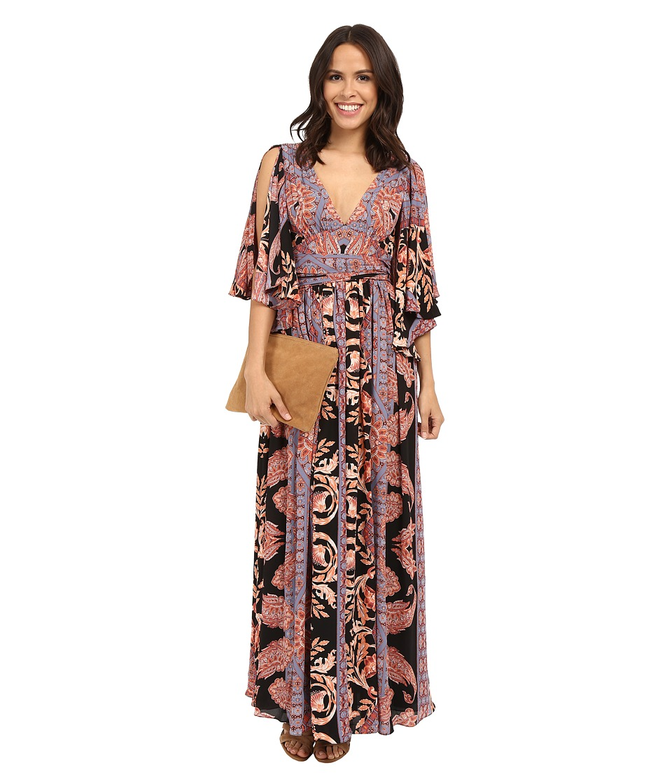 Free People - Printed Fern Maxi Dress (Black Combo) Women's Dress
