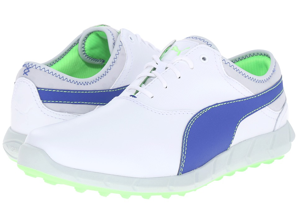 PUMA Golf - Ignite Golf (White/Surf the Web/Green Gecko) Men's Golf Shoes