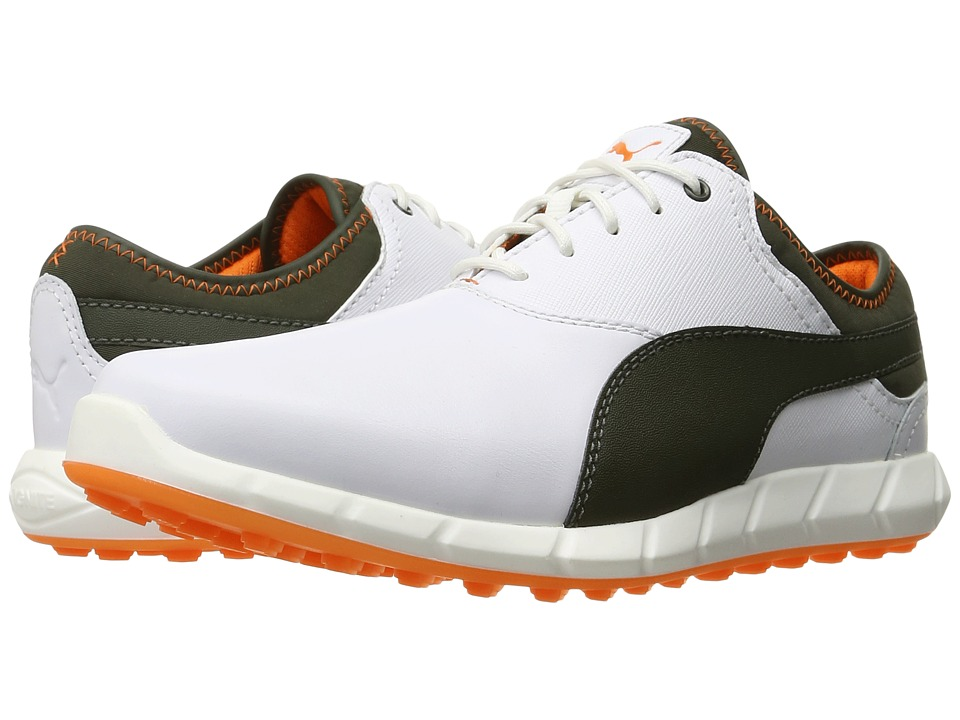 PUMA Golf - Ignite Golf (White/Forest Night/Vibrant Orange) Men's Golf Shoes