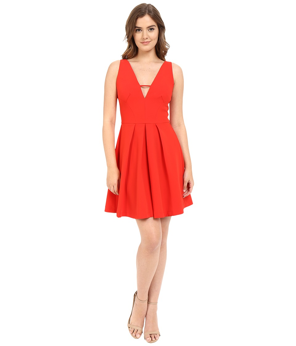 Adelyn Rae - V Front Fit Flare Dress (Red) Women's Dress